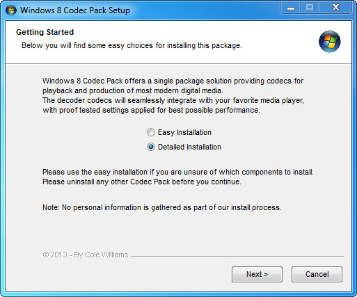 Windows 8 Codecs Pack